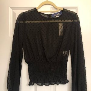 NWT Francesca's Black Dotted Sheer Top Size XS